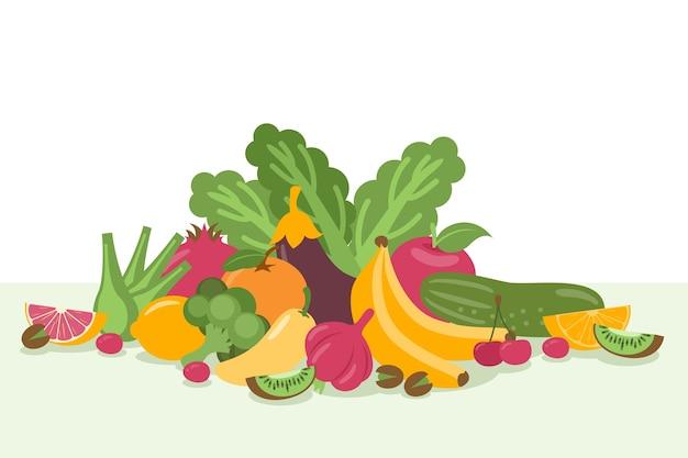 Montón de fondo de frutas y verduras vector gratuito