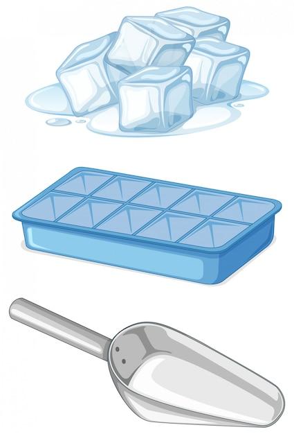 Montón de hielo con bandeja y cuchara. vector gratuito