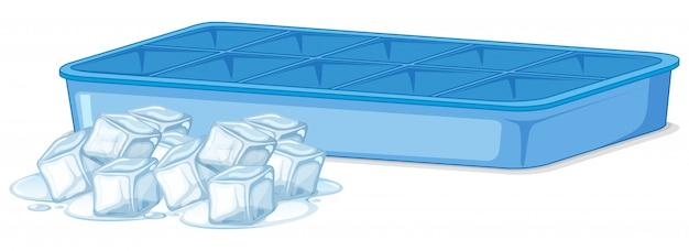 Montón de hielo y bandeja de hielo vacía en blanco vector gratuito