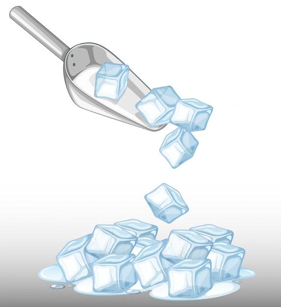 Montón de hielo y cuchara de metal. vector gratuito