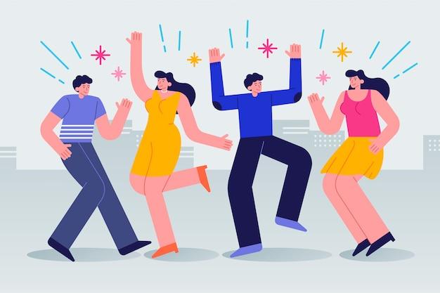 Montón de jóvenes celebrando juntos vector gratuito