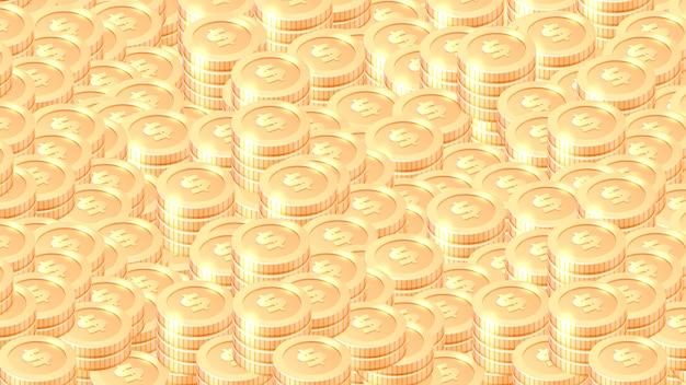 Montones de fondo de vector de dibujos animados de monedas de oro vector gratuito