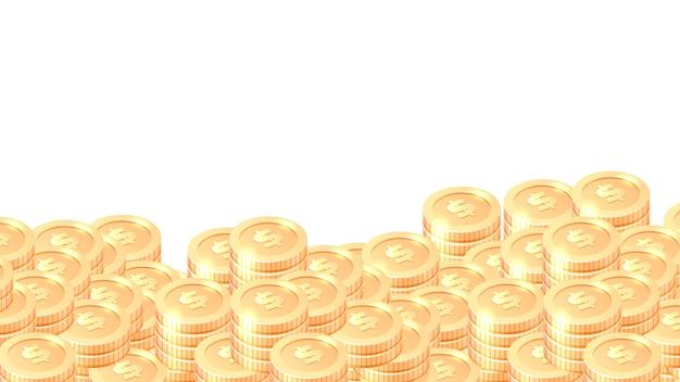 Montones de marco o borde de dibujos animados de monedas de oro vector gratuito