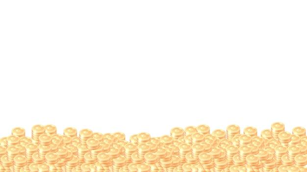 Montones de monedas de oro de dibujos animados vector marco o borde vector gratuito