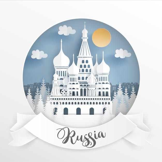 Monumento mundial de rusia con marco blanco.   Descargar Vectores ...