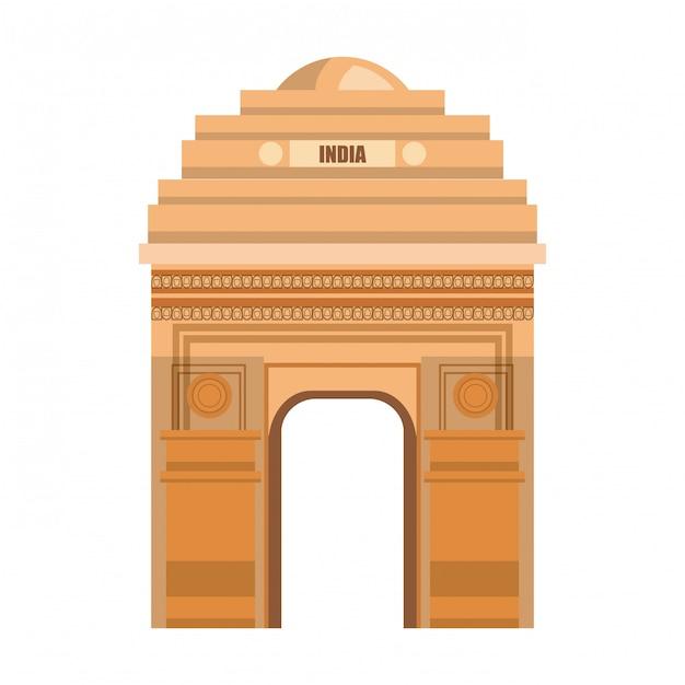Monumento puerta delhi india país diseño Vector Premium