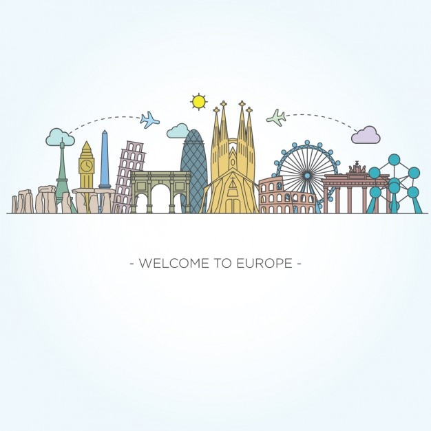 Monumentos europeos vector gratuito