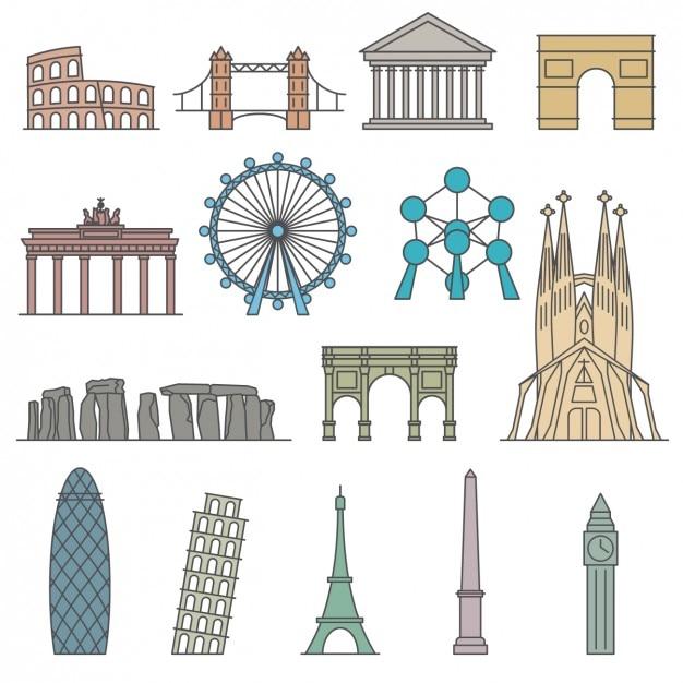 Monumentos del mundo vector gratuito