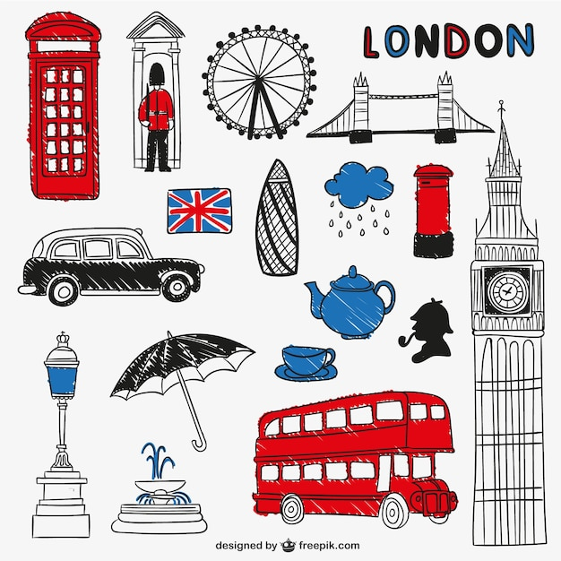 Monumentos y objetos londinenses Vector Premium