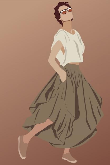 Morena glamurosa de pelo corto vestida con falda larga marrón Vector Premium