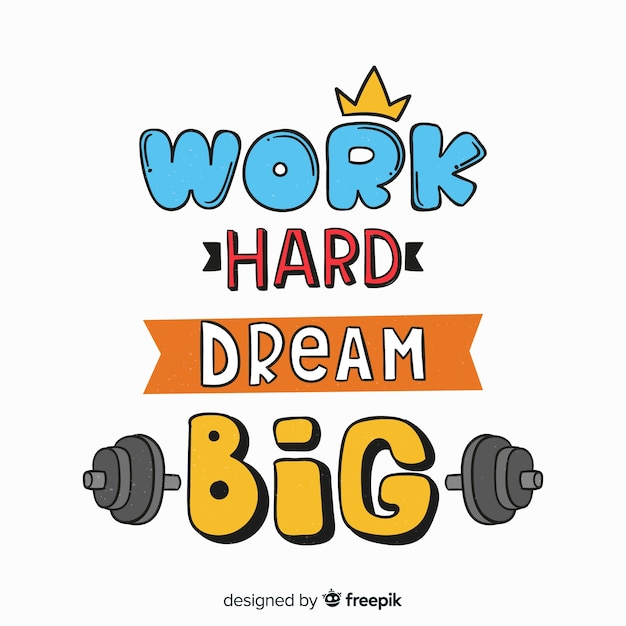 Motivacional deporte letras estilo dibujado a mano vector gratuito