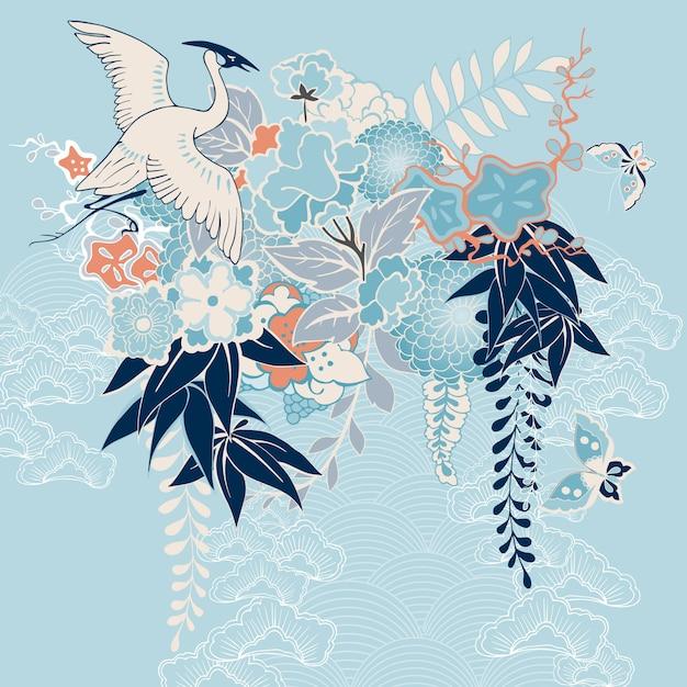 Motivo kimono japonés con grúa y flores. vector gratuito