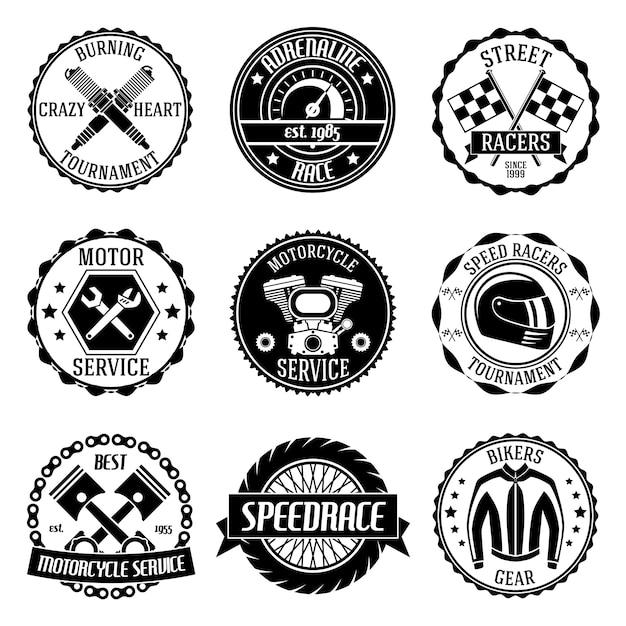 Motocicleta Torneo Motor Servicio Emblemas Negro