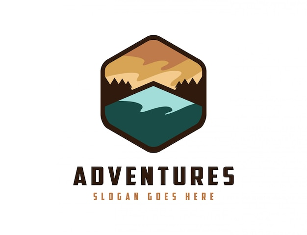 Mountain landscape adventure logo Vector Premium