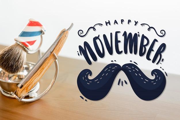 Movember feliz con letras de bigote vector gratuito