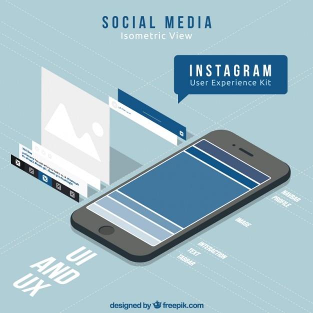 Móvil con redes sociales Vector Gratis