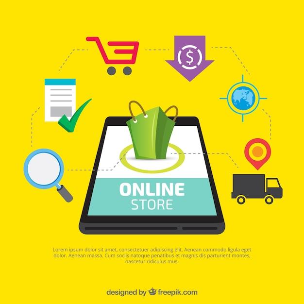 Móvil con elementos de la tienda online vector gratuito