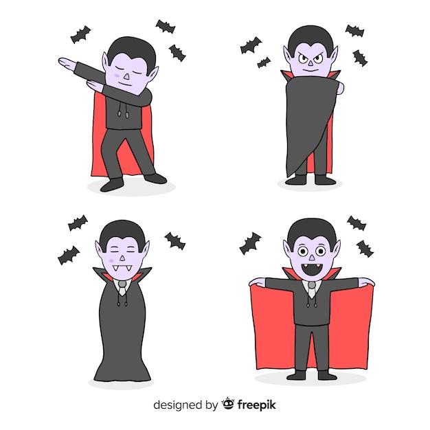 Movimientos de baile de personajes vampiros vector gratuito