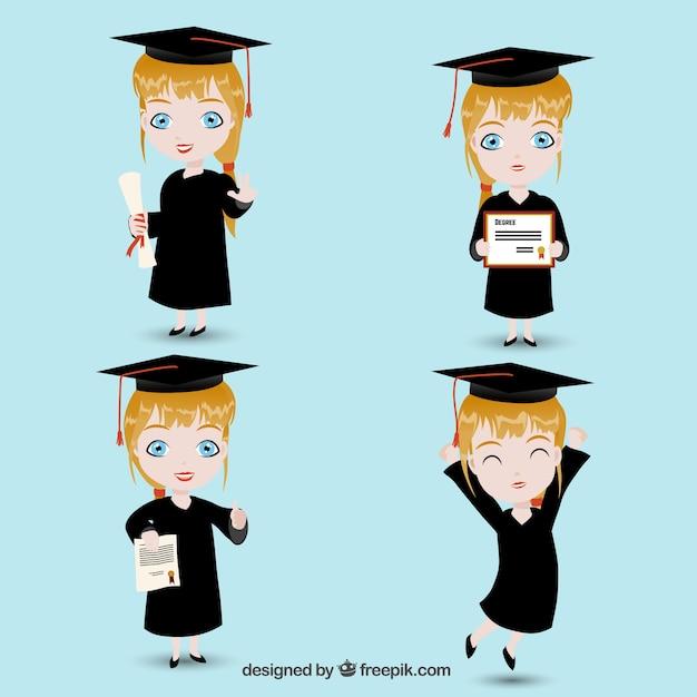 Muchacha Graduada Descargar Vectores Gratis