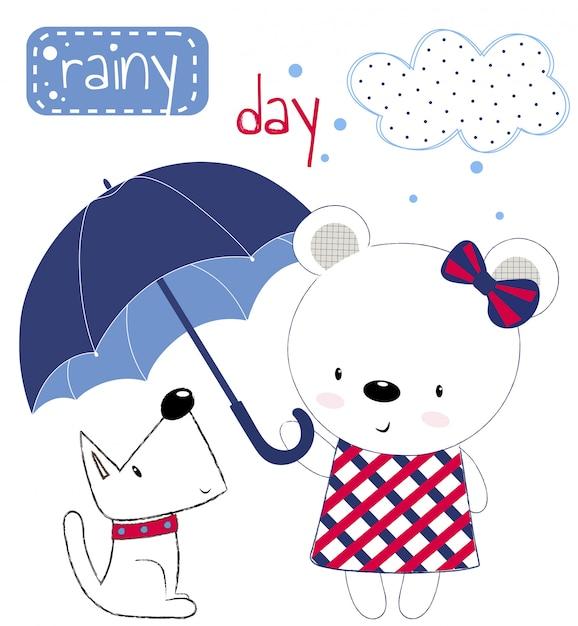 Muchacha linda del oso de peluche con el paraguas y el perrito Vector Premium
