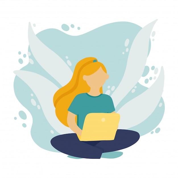 Muchacha que se sienta en el suelo y que trabaja en la computadora portátil en una red social. promoción freelance en la red en estilo plano. Vector Premium