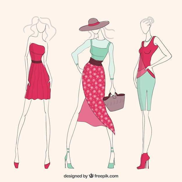 Muchachas de la moda descargar vectores gratis - Dressing modellen ...