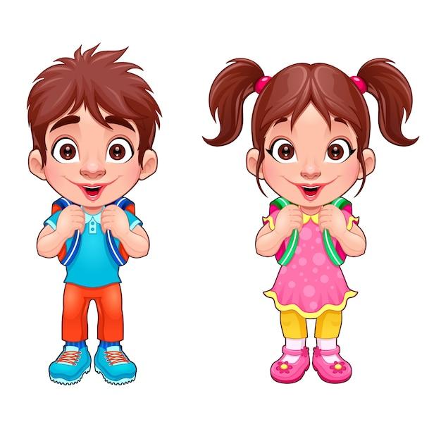 Muchacho joven divertido y una chica estudiantes personajes de vectores aislados de dibujos animados Vector Gratis