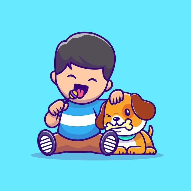 Muchacho lindo que come la piruleta con el perro que come el ejemplo del vector de la historieta del hueso. vector aislado del concepto de amor animal. estilo de dibujos animados plana vector gratuito