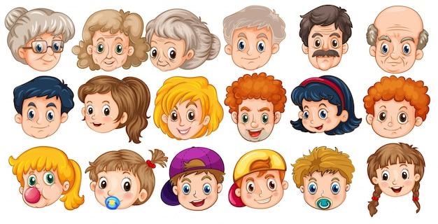 Rostros De Niños Animados: Muchas Caras De Personas En Diferentes Edades
