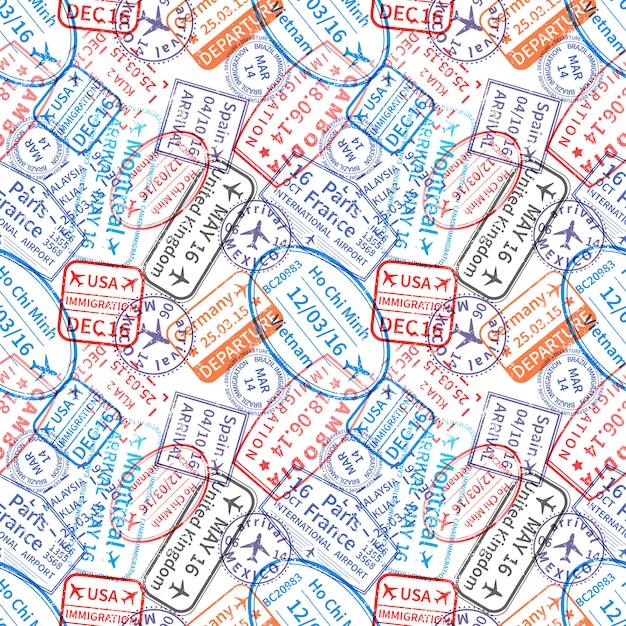 Muchas impresiones de sellos de goma de visa de viaje internacional, sin patrón Vector Premium