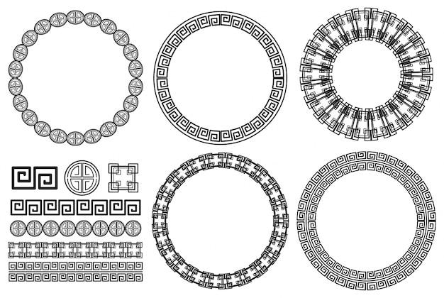 Muchos diseños de bordes con patrones asiáticos vector gratuito