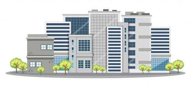 Muchos edificios de oficinas en la ciudad. vector gratuito