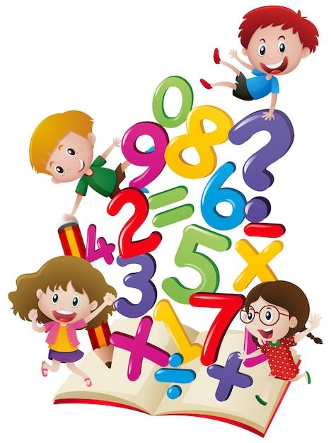 Muchos ni os con n meros en el libro descargar vectores for Aprendiendo y jugando jardin infantil