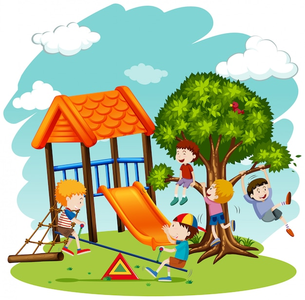 Muchos niños jugando en el patio de recreo. vector gratuito