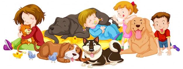 Muchos niños y mascotas en blanco vector gratuito