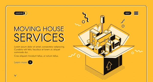 Mudanza de servicios web banner con muebles para el hogar en caja de cartón. vector gratuito