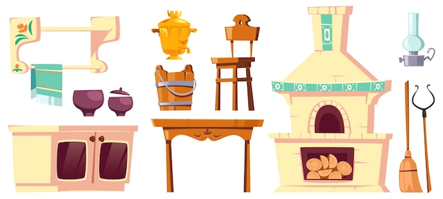 Muebles antiguos de cocina rusa rural con horno, samovar, mesa, silla y empuñadura. vector gratuito
