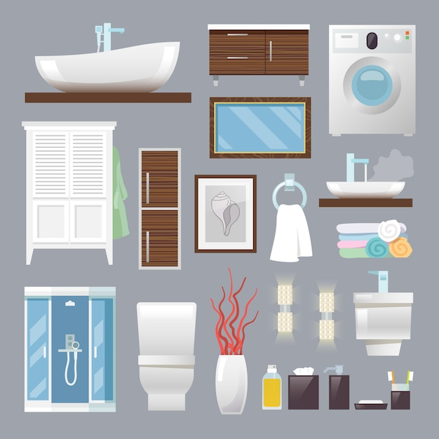 Muebles de baño planos vector gratuito