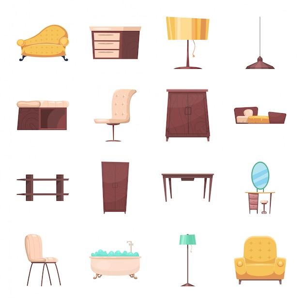 Muebles de conjunto de iconos de dibujos animados interiores Vector Premium