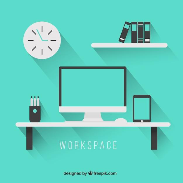 Muebles de espacio de trabajo descargar vectores gratis for Muebles de trabajo