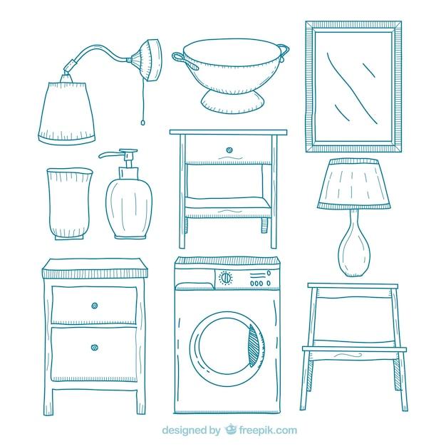 Muebles de hogar dibujados a mano   Descargar Vectores gratis