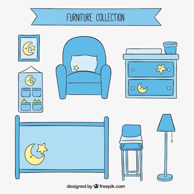 Muebles de la habitaci n del beb descargar vectores premium - Muebles para habitacion de bebe ...