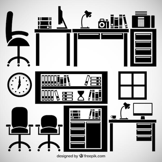 Muebles de oficina descargar vectores gratis for Muebles de oficina puestos de trabajo