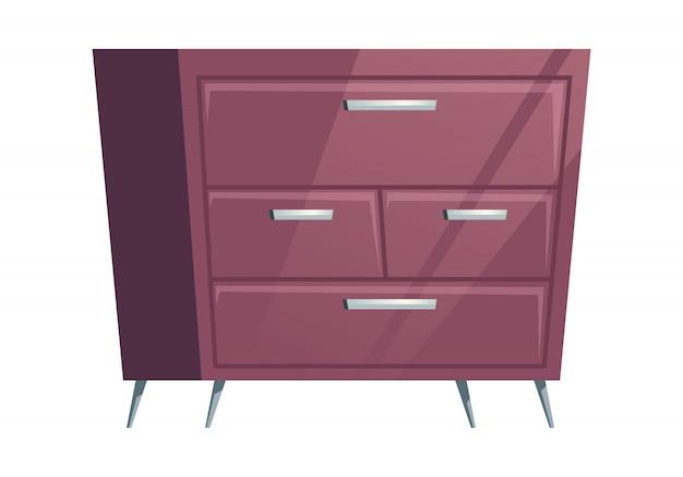 Muebles de dormitorio cómoda cómoda de dibujos animados vector gratuito