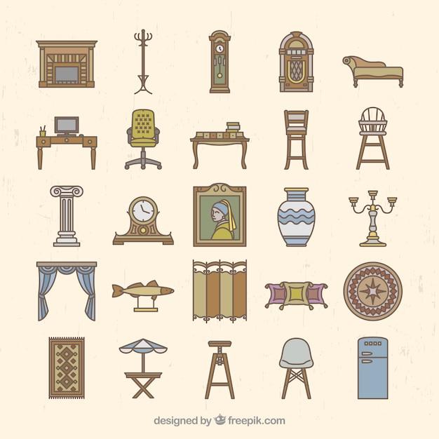 Muebles en estilo vintage descargar vectores premium for Muebles de estilo vintage