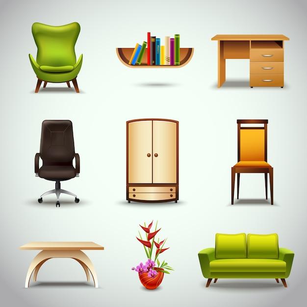 muebles iconos realistas descargar vectores premium