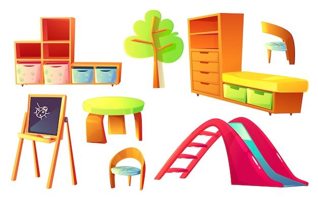 Muebles de jardín de infantes para salón de clase para niños. vector gratuito