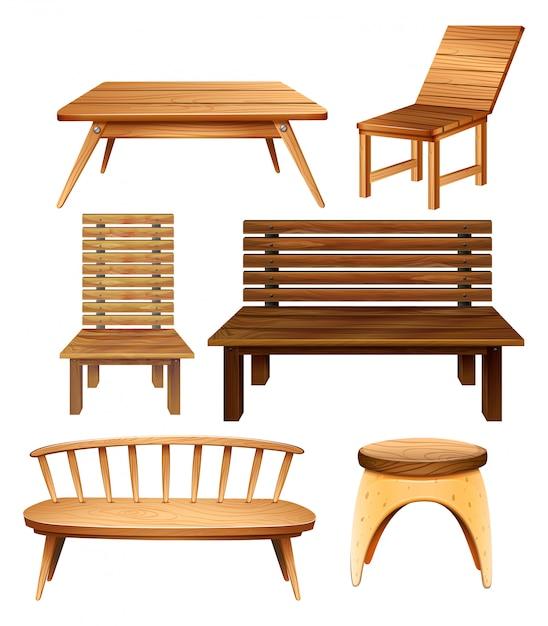 Muebles de madera vector gratuito