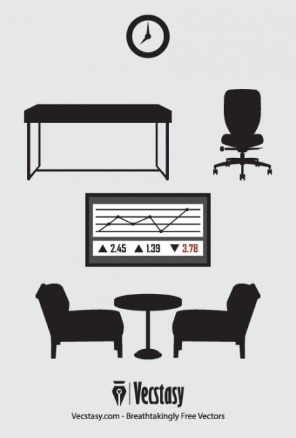 Muebles negro oficina de vectores   Descargar Vectores gratis