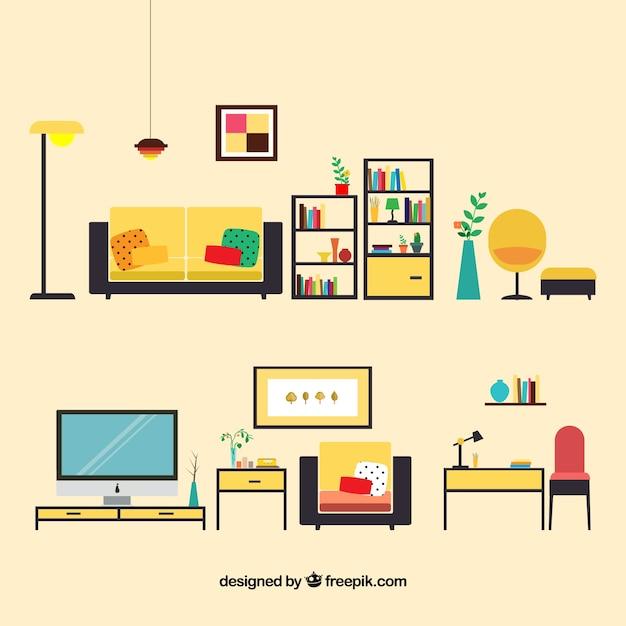 Muebles para sala de estar descargar vectores gratis - Muebles de salita de estar ...